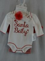 New Starting Out Girls Christmas Santa Baby 4 PC Bodysuit Set w Headband NB  NWT