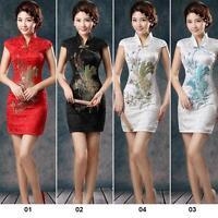 Handy Women Chinese Style Satin Short Sleeve Slim Cheongsam Qipao Dress Good CA#