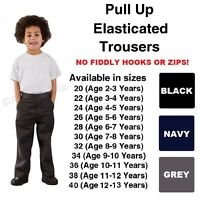 Age 1-13 Boys Pull Up School Trousers Elasticated Black Grey Navy Teflon Coated