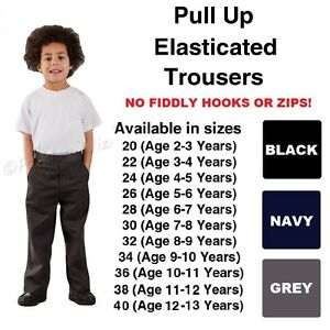 Age 1-13 Boys Pull Up School Trousers Black Grey Navy Teflon Elasticated Back