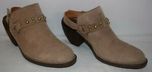 Born Pindo Leather Slingback Block Heel Clogs Taupe Women's Size 8 M New