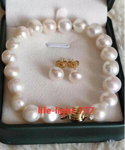 "7.5-8"" AAA+ 10-11MM NATURAL white BAROQUE SOUTH SEA PEARL Bracelets Earring 14K"