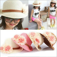 Beautiful Toddlers Infants Baby Girls Flower Summer Straw Sun Beach Hat Cap liau