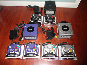 1 Nintendo GameCube Launch Edition Jet Black Console + 2 new controllers, cables