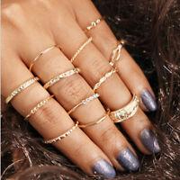 12Pcs/Set Retro Vintage Gold Boho Finger Knuckle Ring Women Fashion Jewelry Gift