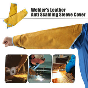 Welder Cowhide Leather Stitched Protect Welding Fireproof Sleeve Heat Insulation