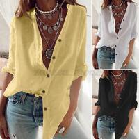 ZANZEA Womens Blouse Long Sleeve Cotton Baggy T Shirt Tops Plain Buttons Up Plus