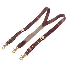 Leather Suspenders Braces Adjustable Design Brown Brass Snaphooks No2 USA Made