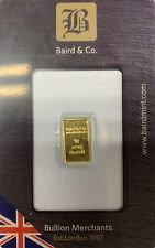 1 GRAM GOLD BAR - BAIRD and Co. London. Comes In sealed Card, Shipping Worldwide