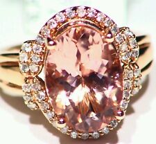 6.00CT 14K Rose Gold Natural Morganite Cut White Diamond Vintage Engagement Ring
