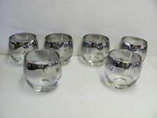 6 DOROTHY THORPE Style Roly Poly Glasses 10 oz. Silver Fade Band MCM