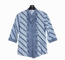 Keris Fashion - S - Blue Floral Geometric Cotton - 3/4 Sleeve Ethnic Tunic Top