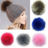 Women Large Faux Raccoon Fur Pom Pom Ball w/ Press Button for Knitting Hat CA RR