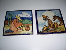 Antique Rugerio Mexican Tile painted art terracotta puebla TILES