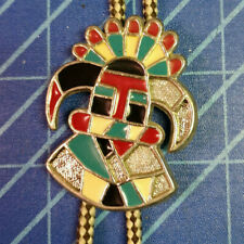 Southwest Native Design Men's Bolo Tie. Nice Condition with Braided Cloth Ties