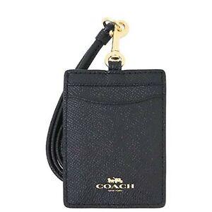 COACH ID Lanyard F57311 in Crossgrain Leather (Black)