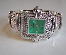 LADIES WESTERN STYLE SILVER FINISH GREEN DIAL BANGLE CUFF FASHION WATCH