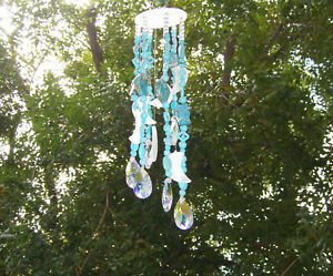 HANGING TURQUOISE WIND CHIME/MOBILE/SUN CATCHER - HAND CRAFTED FREE-FORM STONES+