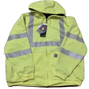 Mens Carhartt High Visibility Lined Hoodie XXL Big Tall Class 3 Sweatshirt Lime