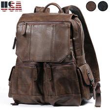 Mens Women Large Leather Backpack Laptop Rucksack Travel School Shoulder Bag New
