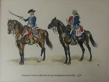 Military Costumes Lieutenant-Colonel et Marechal, Print Heightened w/ Gouache