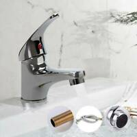 Modern Bathroom Taps Basin Sink Mono Mixer Chrome Cloakroom Tap with 2 Hoses New