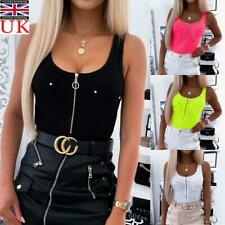 Women's Zip Up Tank Tops Cami Vest Ladies Sleeveless Camisole Blouse T-Shirt UK