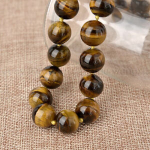 """Natural 10MM tiger's-eye Gems Round Beads Necklace 18"""" Crystal Healing/Chatoyant"""