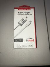 ZipKord Car Charger with Lightning Cable For Apple iPod/iPhone/iPad - White/Gray