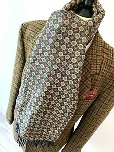 FABULOUS mens INDIE/MOD MULTI COLOUR SILK & WOOL BACKED RETRO PATTERN SCARF