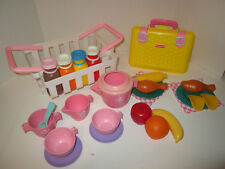 Fisher Price Fun with Food Pretend Play Pink Shopping Basket Tea Set Picnic