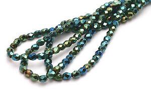 100 Electric Green Iris Czech Glass Faceted Beads 4MM