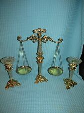 VTG Brass/Lucite Glass Decorative Balance Scale of Justice and Candle Holders