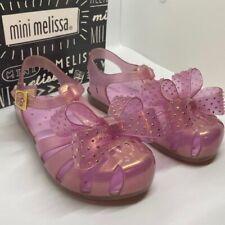 Mini Melissa Pink Glitter Bow Sandals Sz 12 New