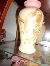 Fenton Glass Burmese Vase with Birds and Eggs  10''tall excellent