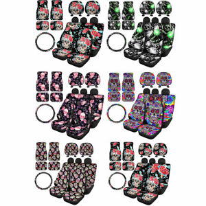 Skull Front Rear Floor Mats+Car Seat Covers+Headrest+Wheel Cover 11pcs Full Set