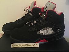 NIKE AIR JORDAN 5 V SUPREME NYC US 13 UK 12 47.5 RETRO 2015 WHITE BLACK RED AJ5