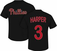 Bryce Harper Philadelphia Phillies #3 MLB Jersey front and back White T-Shirt