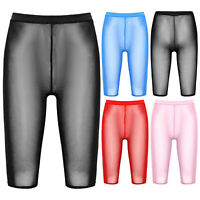 Leggings Damen Transparentes Mesh Radlerhose Kurze Yogahose Sporthose Shorts