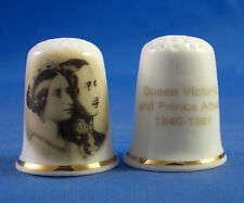 Birchcroft China Thimble -- Queen Victoria and Prince Albert with Free Dome Box