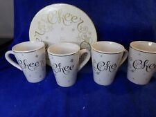 Hausenware Holiday Lyn Dillin Cheer Set 4 Coffee Cup Mugs In Box Gold Trim