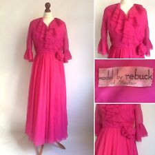 Vintage 1950s Rebuck Of Mayfair Pink Chiffon Dress Party Prom Wedding Size 8 10