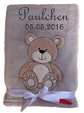 Babydecke grau mit Teddy mit Namen bestickt Baby Decke Taufe Geburt Geschenk