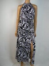 Michael Kors Black White Shirred Neckline Matte Jersey Maxi Dress P 2 NEW M380