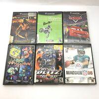 Nintendo Gamecube Lot Of 6 Games - Cars, Spongebob, NFL Blitz, Madden, & More!