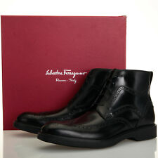 Salvatore Ferragamo Gaiano Black Leather Wing Tip Ankle Boots - Mens 12 D