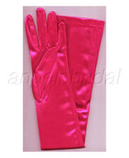 "23"" FUCHSIA HOT PINK STRETCH SATIN BRIDAL WEDDING COSPLAY COSTUME OPERA GLOVES"