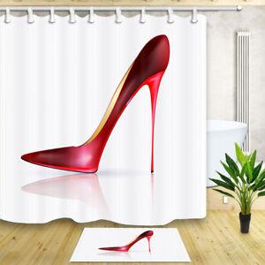 "Waterproof Polyester Fabric Girl High-Heel Shoe Bath Shower Curtain Hooks 72X72/"""