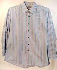 David Taylor Mens Dress Shirt Size Large 16.5 Blue 32 33 Striped Button Front