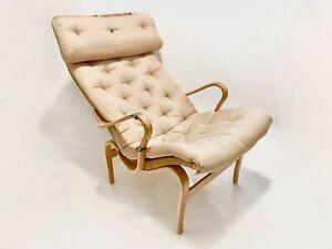 Bruno Mathsson Vintage Original Pernilla Fabric Lounge Chair by Dux Sweden